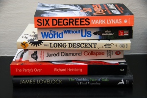 A stack of six books on climate change